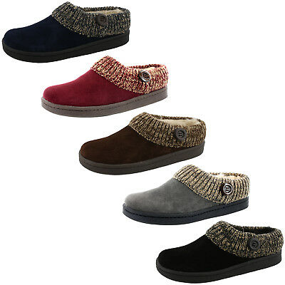 Clarks Womens Angelina Knitted Collar Clog Slipper
