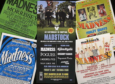 MADNESS - PROMO FLYERS FROM ALL 5x MADSTOCKS ! - SUGGS STIFF SKA TWO 2 TONE