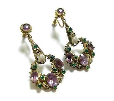 Beautiful Vintage Or Antique Earrings With Suffregette Colours Amethyst (D17)