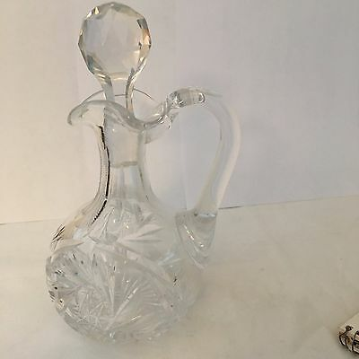 American Brilliant cut glass Cruet - crystal with stopper - ABP