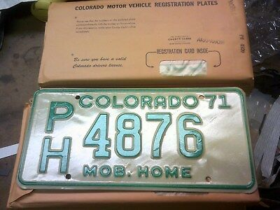 Lot of 60 vintage 1971 Colorado Mobile Home license plates rat rod scta
