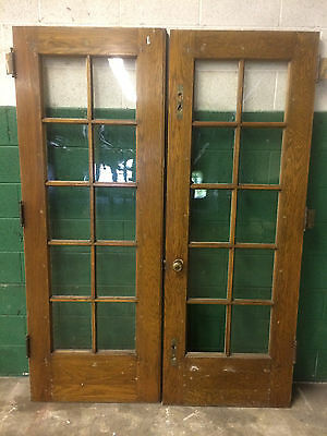 "Pair Vintage French Doors Wood Double Window Glass Pane Lite Antique 60""x81-1/2"""