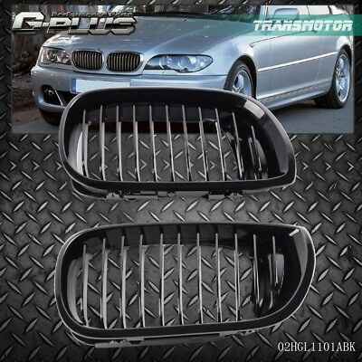 Front Hood Kidney Grille For BMW 2002-2005 E46 4D 320i 323i 325i 328i 4 Dr Black