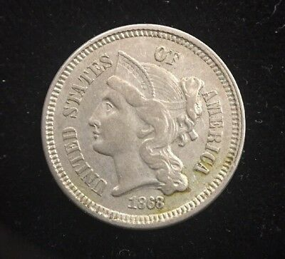 1868 Three Cent Nickel Early U.S. Collectible Coin