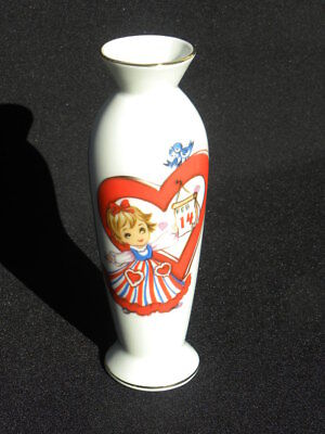 Vintage Lefton Valentine's Day Bud Vase with Girl, Birds, Heart and Calendar, #8