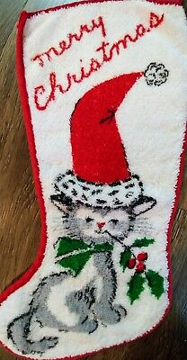 Vintage Cat Kitten Christmas Stocking Holly Terry Towel Material Cloth