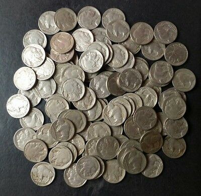 Lot of 100 5c Buffalo/Indian Nickels with Dates
