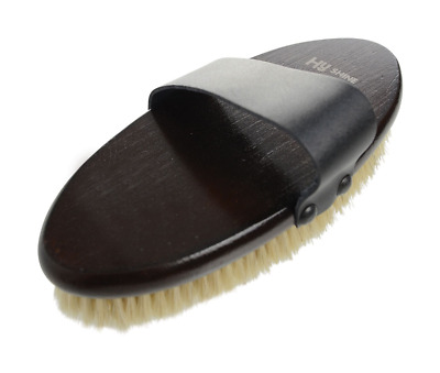 HySHINE Deluxe Body Brush With Goat Hair and Massage Pad