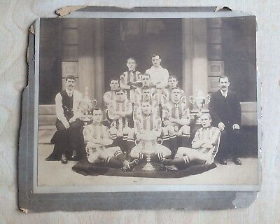 UNKNOWN FOOTBALL TEAM PHOTOGRAPH EARLY 1910s ON CARD COVENTRY LEAMINGTON UTD ??