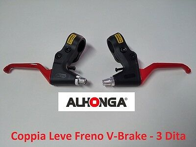 "882RJ Coppia Leve Freno ""Alhonga"" V-Brake Rosse per bici 20-24-26-28 City Bike"