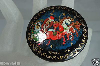 Vintage Authentic Palekh Brooch Hand Painted Signed Russian Lacquer