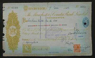 (L) 1923, Cheque ( THE MANCHESTER & COUNTY BANK LIMITED )Sunbeam Motors