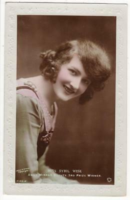 VINTAGE GLAMOUR RP POSTCARD,DAILY MIRROR BEAUTY,MISS SYBIL WISE, c1919