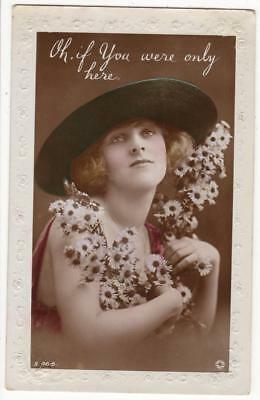 Vintage Glamour Rp Postcard,vera Wilkinson,large Hat,daisies,rotary,1921