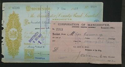 (N) 1923, Cheque ( THE MANCHESTER & COUNTY BANK LIMITED )