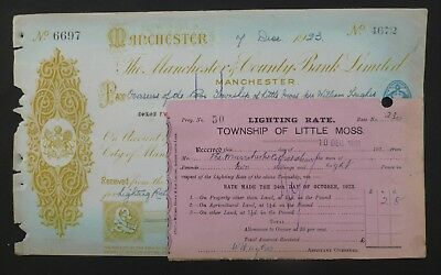 (O) 1923, Cheque ( THE MANCHESTER & COUNTY BANK LIMITED ) Little Moss