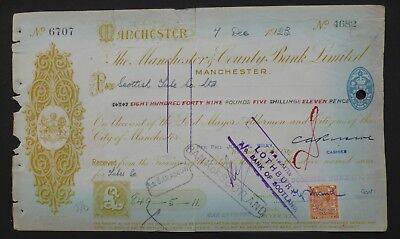 (P) 1923, Cheque ( THE MANCHESTER & COUNTY BANK LIMITED )