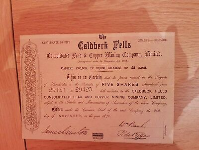 Share certificate Caldbeck Fells Consolidated Lead & Copper Mining Co. Ltd.1870