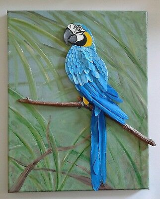 Original canvas 3D painting blue and gold macaw parrot bird, one-of-a-kind art!