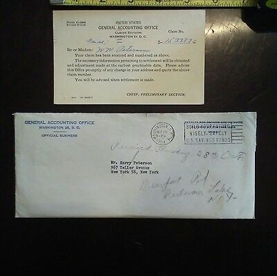 1954 UNITED STATES GENERAL ACCOUNTING OFFICE FORM C-4000 Historic documents