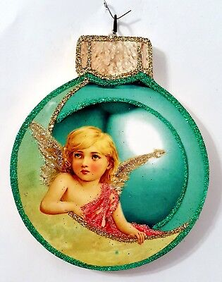 WINTERMINT BAUBLE w/ ANGEL in CRESCENT MOON * Glitter CHRISTMAS ORNAMENT * Vtg