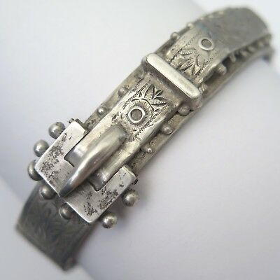Antique Victorian Sterling Silver Thin Buckle Bangle Bracelet