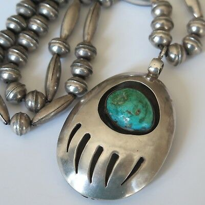 Vtg Southwestern Sterling Silver Bench Bead Bear Claw Turquoise Coral Necklace