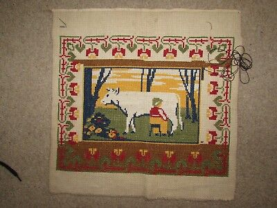 Vintage Cross stitch picture - cow being milked (border is unfinished)