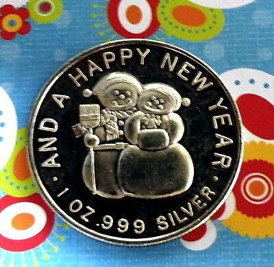 1882 1 oz .999 silver art round MERRY CHRISTMAS HAPPY NEW YEAR SNOWMEN DEER