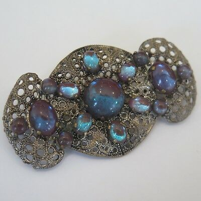 """Vintage Victorian Saphiret Foiled Glass 2 3/8"""" Brooch Pin"""