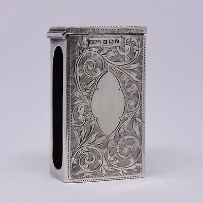 Wonderful Solid Silver Edwardian Matchbox Cover Birmingham 1905 H Williamson Ltd