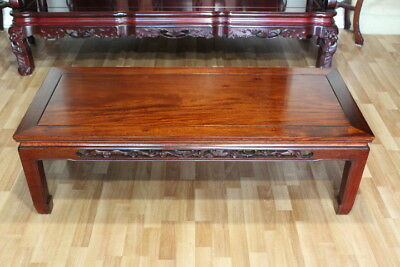 Solid Asian Rosewood ( Huanghuali ) Low Table or Coffee Table with Carving