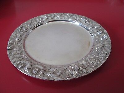 Antique JENKINS & JENKINS REPOUSSE  STERLING 5 1/2 in COASTER  4 toz  #9 of 11