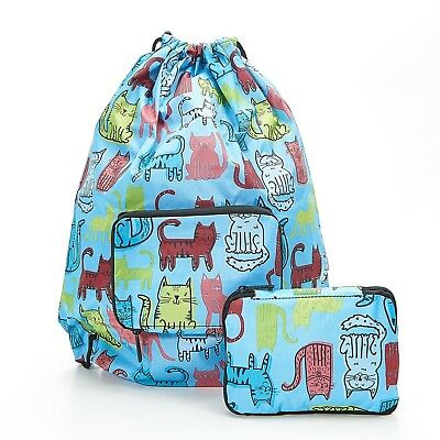 Funky Cat Foldable Drawstring Bag Blue By Eco Chic