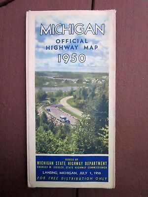 Vintage 1950 Folded Official Highway Travel Map - Michigan