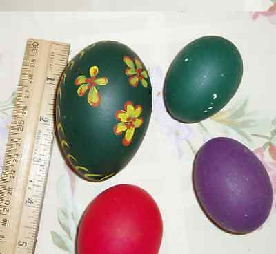 Lot of 4 Painted Eggs 1 Goose 3 Chicken Painted Ready to Decorate