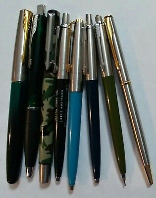VTG PARKER Pen Pencil 8 lot frontier camo insignia fountain jotter 45 blue green