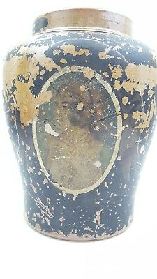 Antique victorian 19th century painted tabacco jar