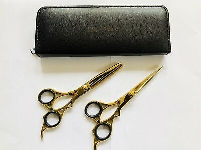"""Professional Hairdressing Scissors Barber Haircutting Shears Set Gold 6"""""""
