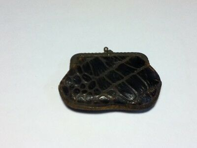 Antique Small Mini Metal Hinged Leather Snap Pocket Coin Change Purse