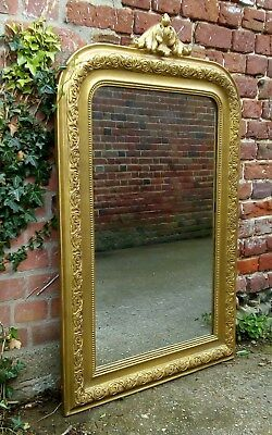 Large Antique French gesso gilded mirror - original plate glass