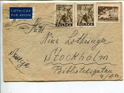 Poland air mail cover to Sweden 1948, part of back missing