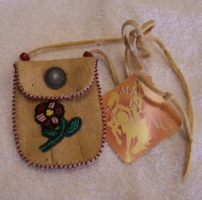 Hand Made Small Beaded Neck Pouch Rendezvous Black Powder Mountain Man 10