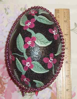 Large Decorated Painted Emu Emerald Green Egg Beaded Trim Flowers Leafs