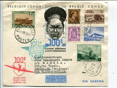 Belgium special air mail cover to Elisabethville and back 1938