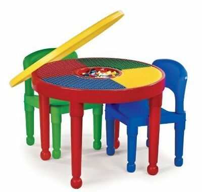 Tot Tutors Kids 2-in-1 Plastic LEGO-Compatible Activity Table and 2 Chairs Set,