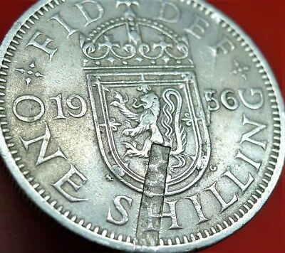 1956 Elizabeth Shilling Minor Mint Error, Disturbances In Rev Planchet.