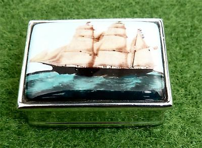 Little Silver Pill Box With Clipper Ship On Lid By Ari Norman Of London - 2005