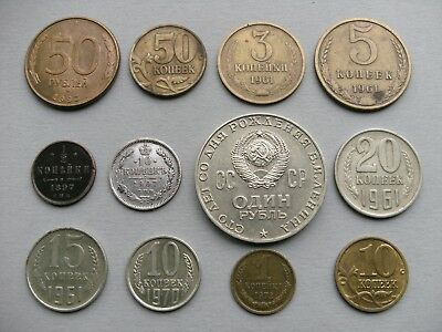 Russian 12 Coins 1897, 1907, 4 of 1961, 2 of 1970, 1972, 1993, 1997, and 2004.