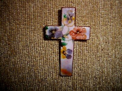 Exquisite Enamel Glass on Copper Christian Cross Pin Pansies by Diane Mingolla